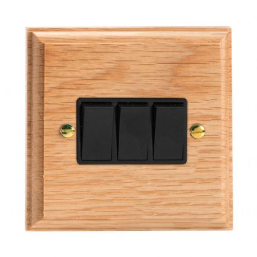 Varilight XK3OB Kilnwood Oak 3 Gang 10A 1 or 2 Way Rocker Light Switch